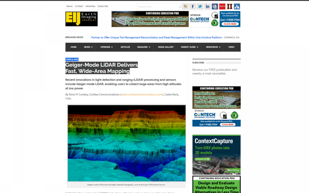 Technology Overview ArticleGeiger-Mode LiDAR Delivers Fast Wide Area mapping